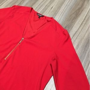 Express red 3/4 sleeve blouse with zipper detail